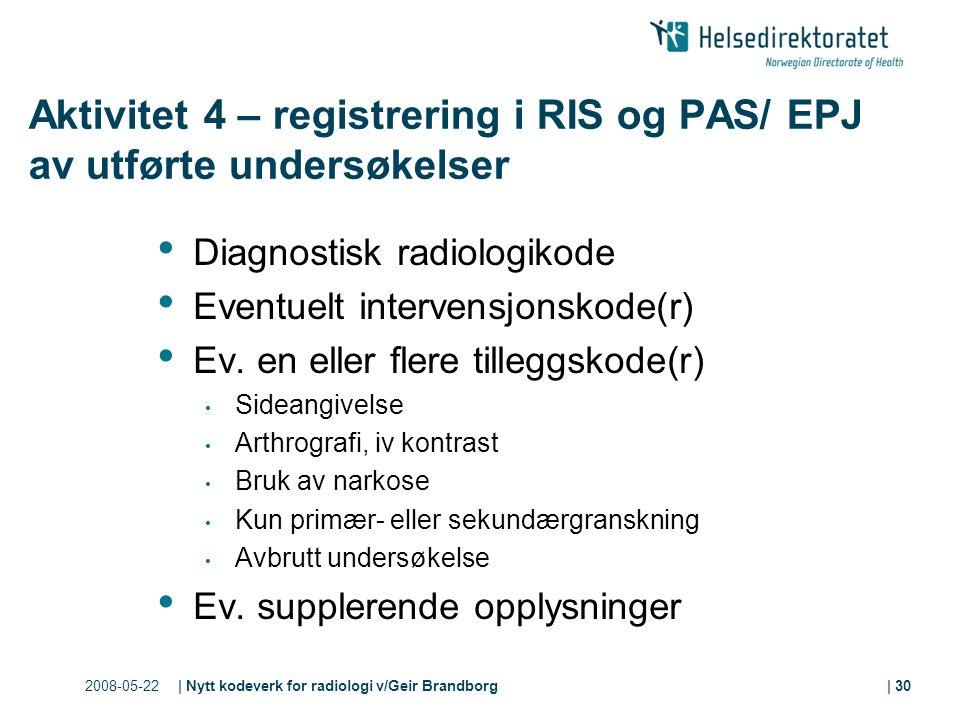 2008-05-22| Nytt kodeverk for radiologi v/Geir Brandborg| 30 Aktivitet 4 – registrering i RIS og PAS/ EPJ av utførte undersøkelser Diagnostisk radiologikode Eventuelt intervensjonskode(r) Ev.