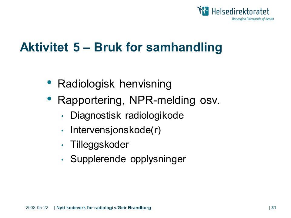 2008-05-22| Nytt kodeverk for radiologi v/Geir Brandborg| 31 Aktivitet 5 – Bruk for samhandling Radiologisk henvisning Rapportering, NPR-melding osv.