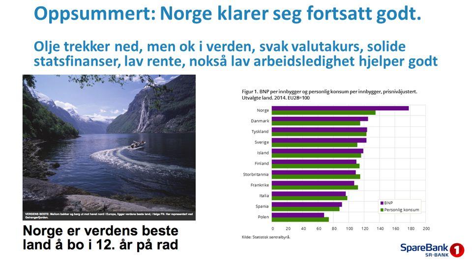 Oppsummert: Norge klarer seg fortsatt godt. Olje trekker ned, men ok i verden, svak valutakurs, solide statsfinanser, lav rente, nokså lav arbeidsledi