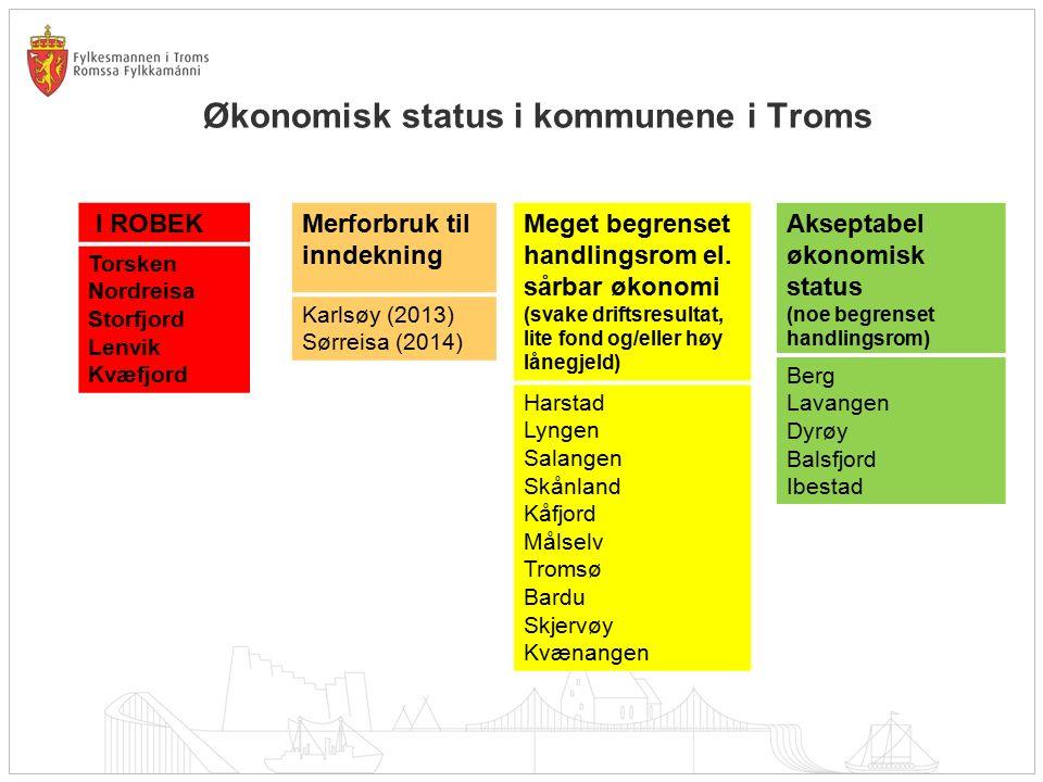 Økonomisk status i kommunene i Troms I ROBEK Torsken Nordreisa Storfjord Lenvik Kvæfjord Merforbruk til inndekning Karlsøy (2013) Sørreisa (2014) Meget begrenset handlingsrom el.