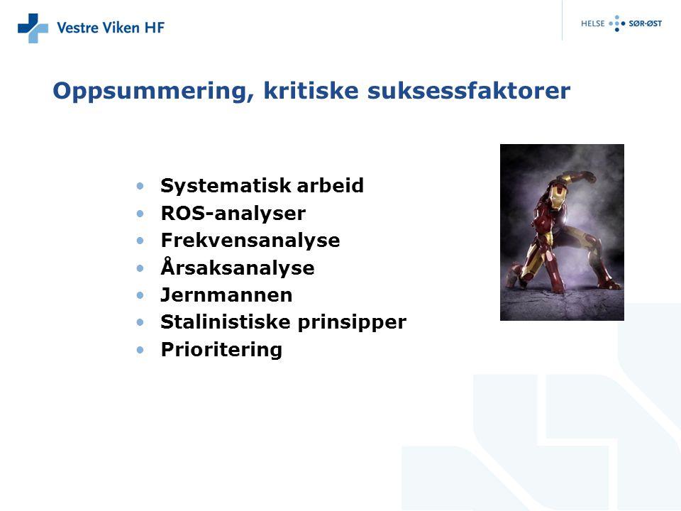 Oppsummering, kritiske suksessfaktorer Systematisk arbeid ROS-analyser Frekvensanalyse Årsaksanalyse Jernmannen Stalinistiske prinsipper Prioritering