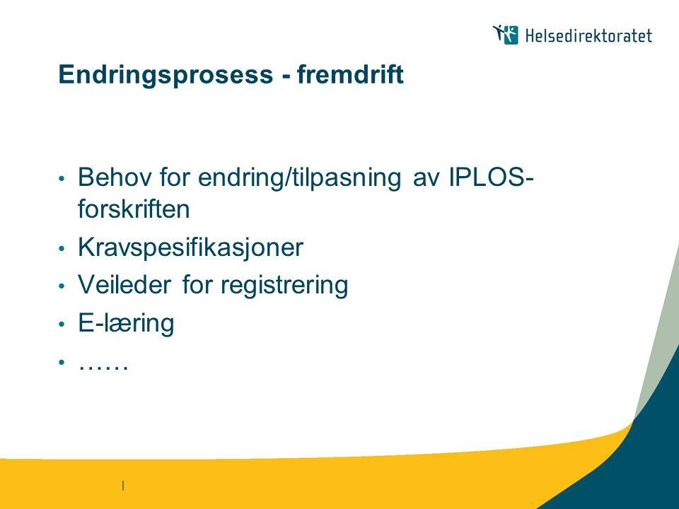 | Endringsprosess - fremdrift Behov for endring/tilpasning av IPLOS- forskriften Kravspesifikasjoner Veileder for registrering E-læring ……