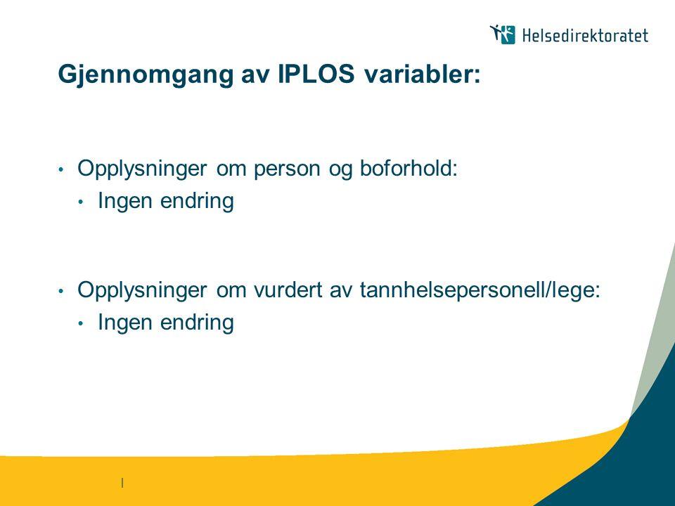 | Gjennomgang av IPLOS variabler: Opplysninger om person og boforhold: Ingen endring Opplysninger om vurdert av tannhelsepersonell/lege: Ingen endring