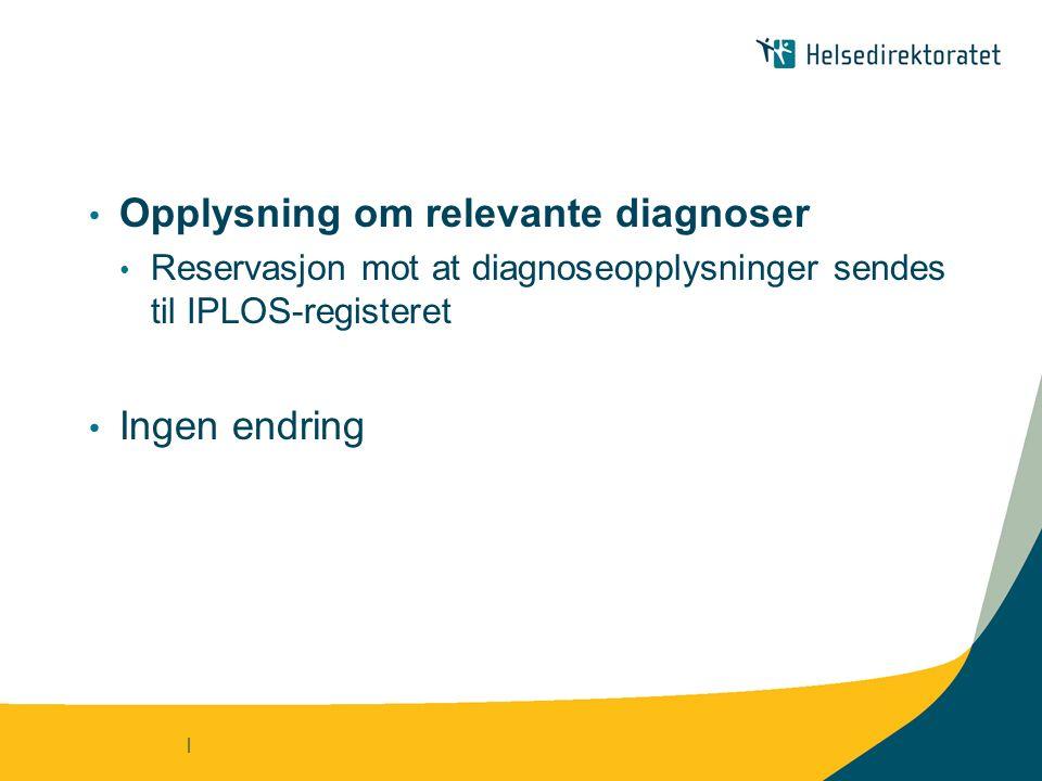 | Opplysning om relevante diagnoser Reservasjon mot at diagnoseopplysninger sendes til IPLOS-registeret Ingen endring