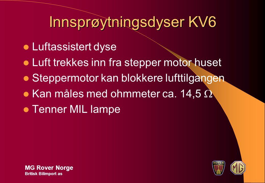 Innsprøytningsdyser KV6 Luftassistert dyse Luft trekkes inn fra stepper motor huset Steppermotor kan blokkere lufttilgangen Kan måles med ohmmeter ca.