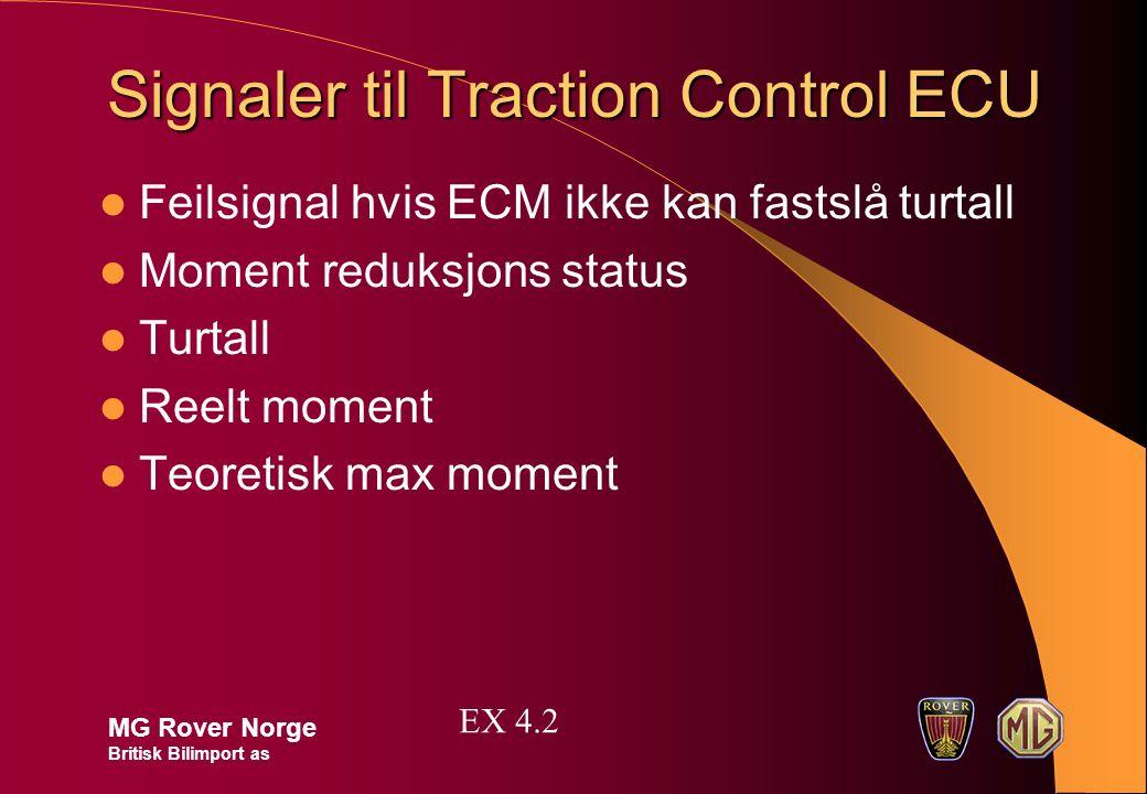 Signaler til Traction Control ECU Feilsignal hvis ECM ikke kan fastslå turtall Moment reduksjons status Turtall Reelt moment Teoretisk max moment MG R