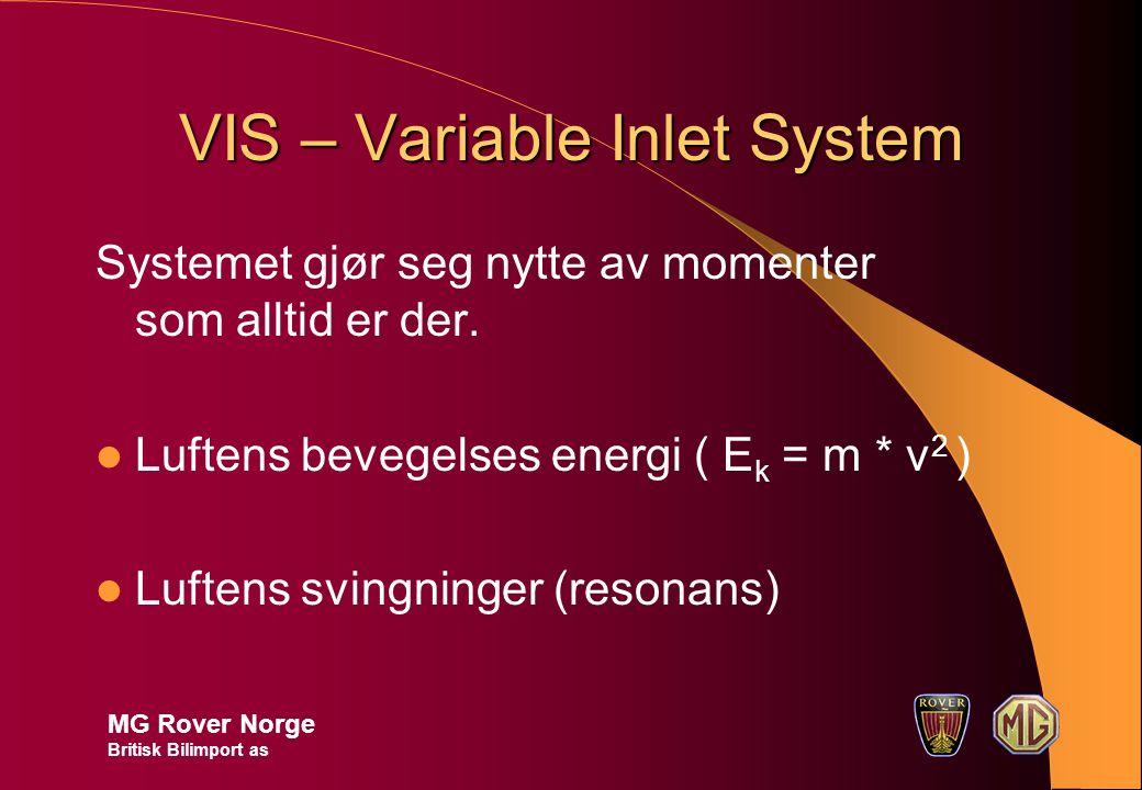 VIS – Variable Inlet System Systemet gjør seg nytte av momenter som alltid er der.
