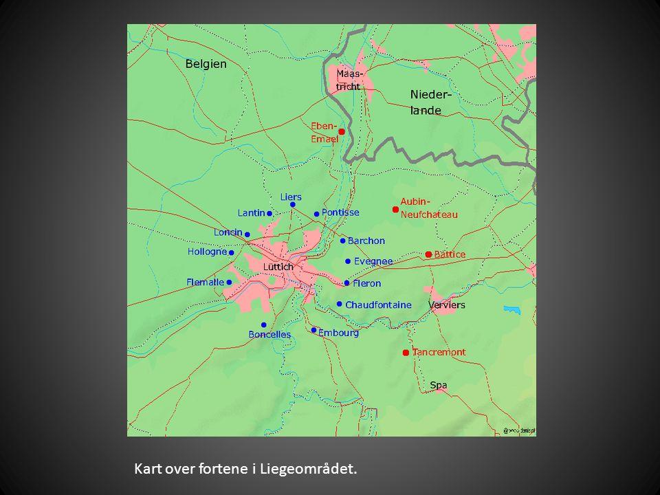 Kart over fortene i Liegeområdet.
