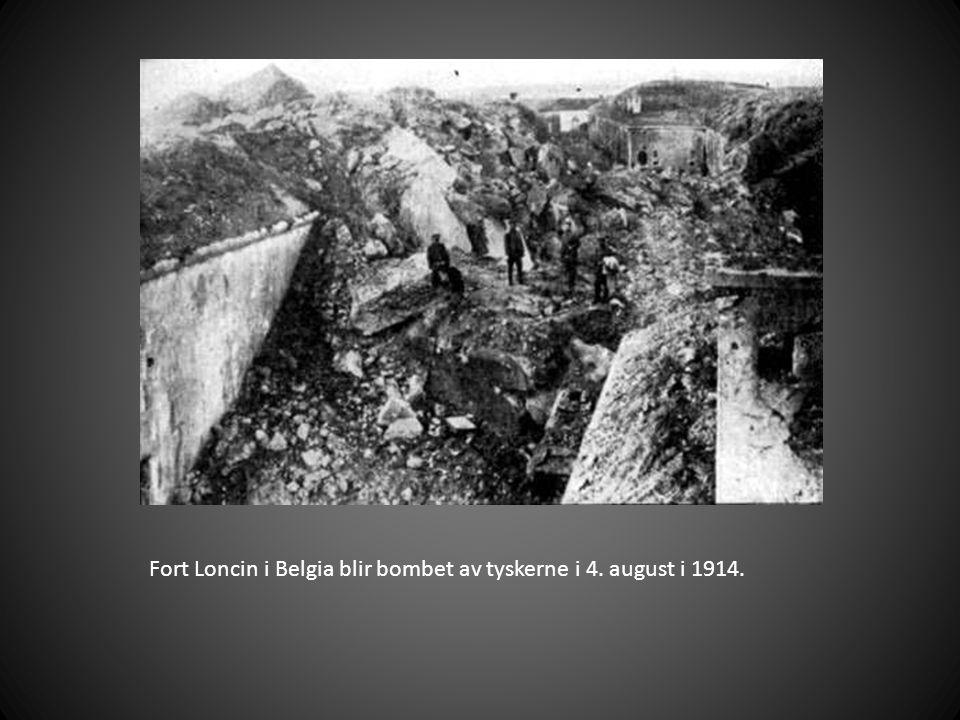 Fort Loncin i Belgia blir bombet av tyskerne i 4. august i 1914.