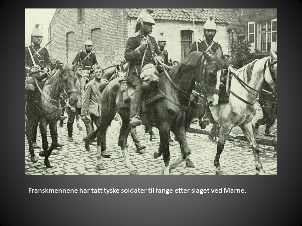 Franskmennene har tatt tyske soldater til fange etter slaget ved Marne.