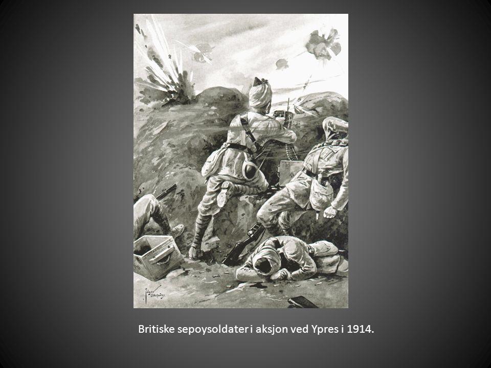 Britiske sepoysoldater i aksjon ved Ypres i 1914.
