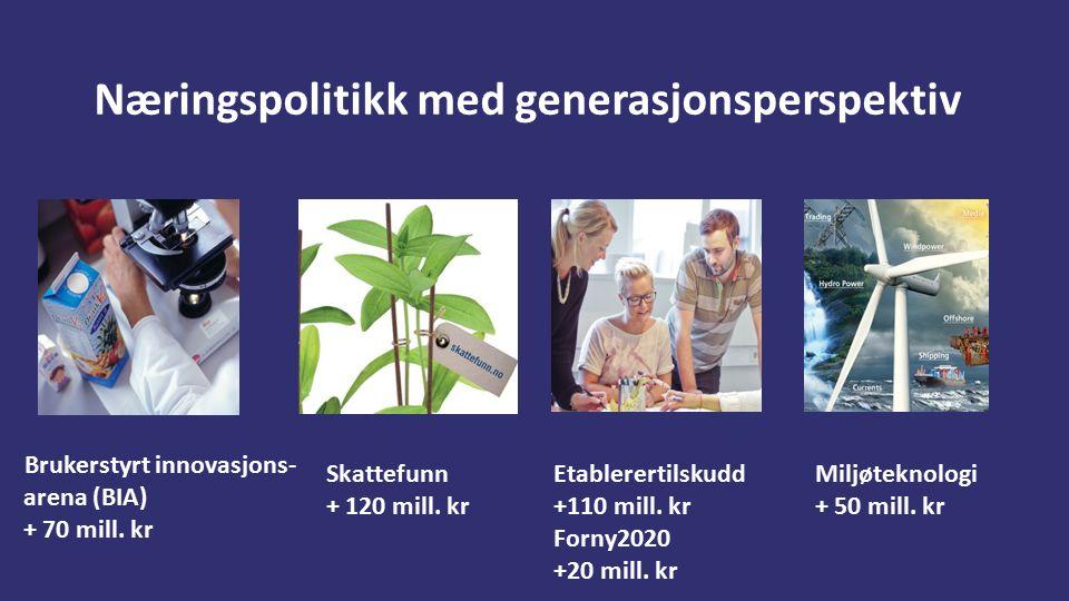 Næringspolitikk med generasjonsperspektiv Brukerstyrt innovasjons- arena (BIA) + 70 mill.