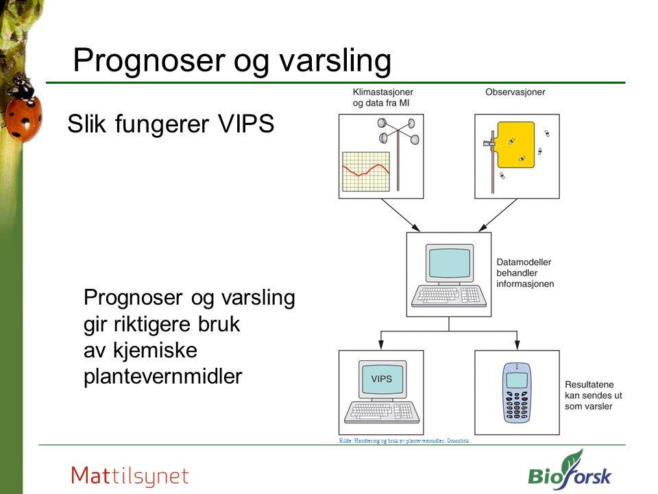 Prognoser og varsling Slik fungerer VIPS Prognoser og varsling gir riktigere bruk av kjemiske plantevernmidler Kilde: Handtering og bruk av plantevernmidler, Grunnbok