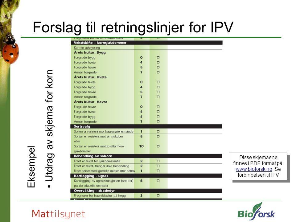 Forslag til retningslinjer for IPV Eksempel Utdrag av skjema for korn Disse skjemaene finnes i PDF-format på: www bioforsk no Se forbindelsen til IPV www bioforsk no Disse skjemaene finnes i PDF-format på: www bioforsk no Se forbindelsen til IPV www bioforsk no