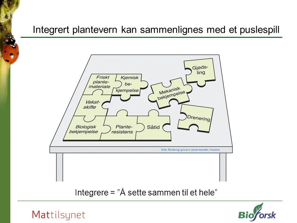 Integrert plantevern kan sammenlignes med et puslespill Integrere = Å sette sammen til et hele Kilde: Handtering og bruk av plantevernmidler, Grunnbok