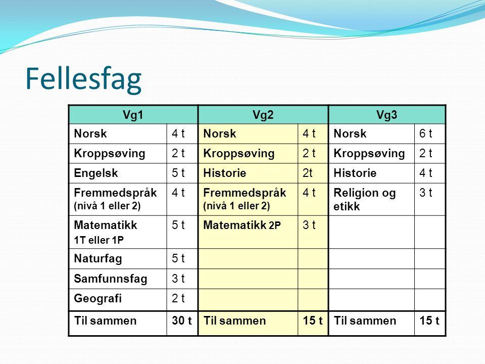 Fellesfag Vg1Vg2Vg3 Norsk4 tNorsk4 tNorsk6 t Kroppsøving2 tKroppsøving2 tKroppsøving2 t Engelsk5 tHistorie2tHistorie4 t Fremmedspråk (nivå 1 eller 2)