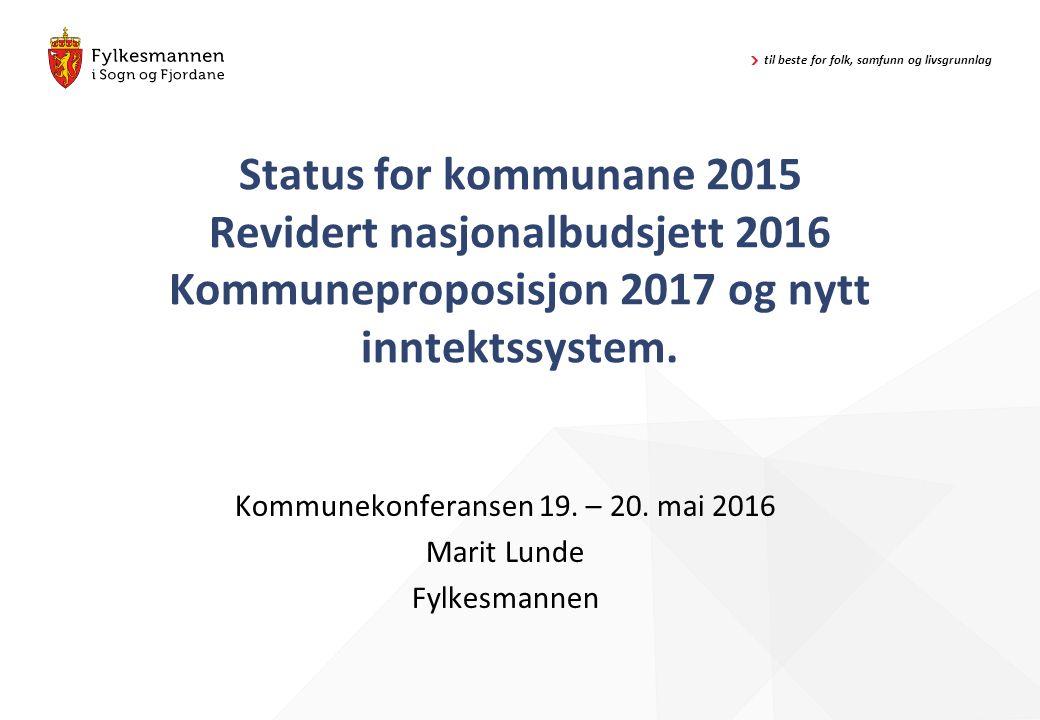 til beste for folk, samfunn og livsgrunnlag Status for kommunane 2015 Revidert nasjonalbudsjett 2016 Kommuneproposisjon 2017 og nytt inntektssystem. K