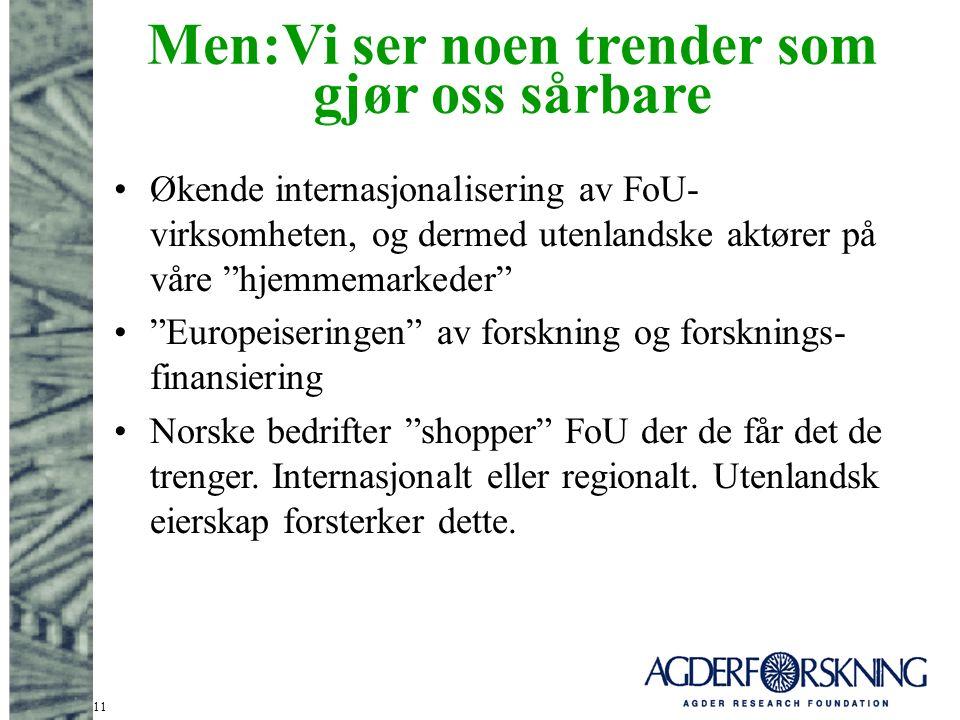 11 Men:Vi ser noen trender som gjør oss sårbare Økende internasjonalisering av FoU- virksomheten, og dermed utenlandske aktører på våre hjemmemarkeder Europeiseringen av forskning og forsknings- finansiering Norske bedrifter shopper FoU der de får det de trenger.