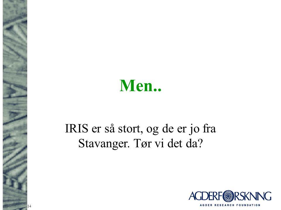 14 Men.. IRIS er så stort, og de er jo fra Stavanger. Tør vi det da