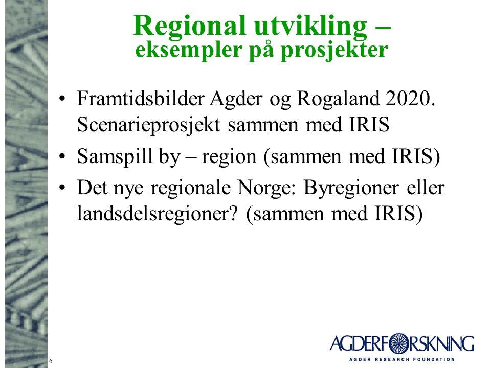 6 Regional utvikling – eksempler på prosjekter Framtidsbilder Agder og Rogaland 2020.