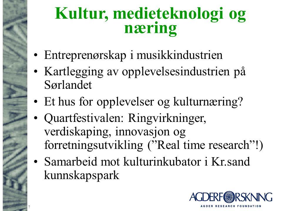 7 Kultur, medieteknologi og næring Entreprenørskap i musikkindustrien Kartlegging av opplevelsesindustrien på Sørlandet Et hus for opplevelser og kulturnæring.