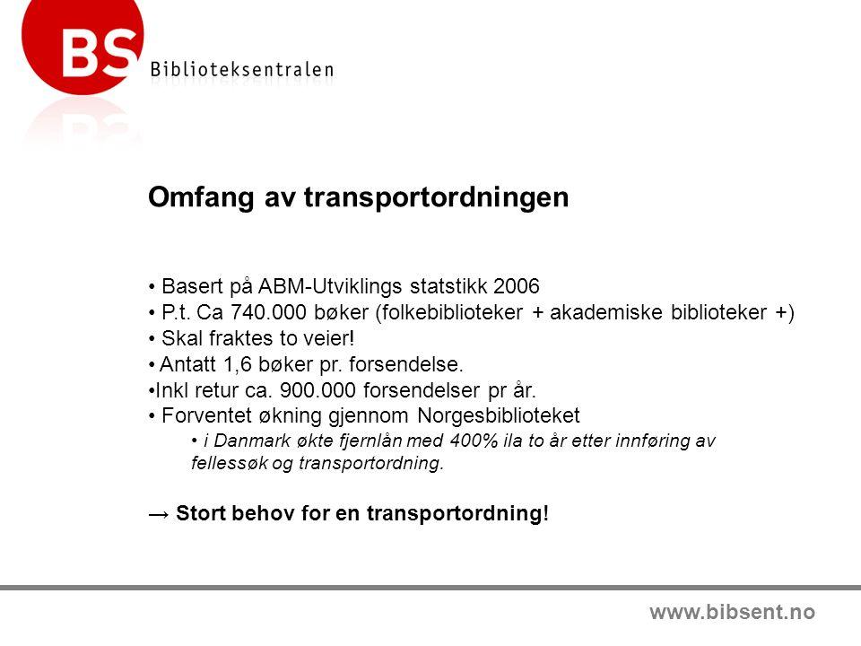 www.bibsent.no Omfang av transportordningen Basert på ABM-Utviklings statstikk 2006 P.t.