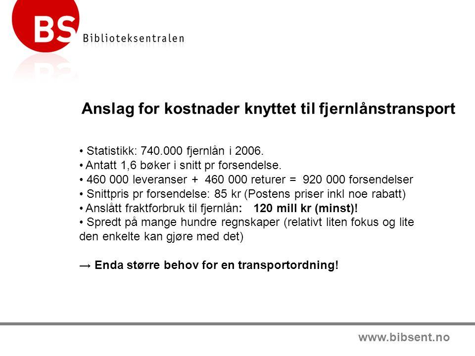 www.bibsent.no Anslag for kostnader knyttet til fjernlånstransport Statistikk: 740.000 fjernlån i 2006.