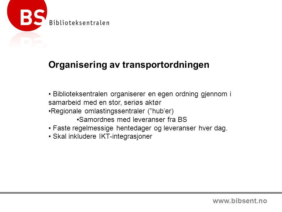 www.bibsent.no Organisering av transportordningen Biblioteksentralen organiserer en egen ordning gjennom i samarbeid med en stor, seriøs aktør Regionale omlastingssentraler ( hub'er) Samordnes med leveranser fra BS Faste regelmessige hentedager og leveranser hver dag.
