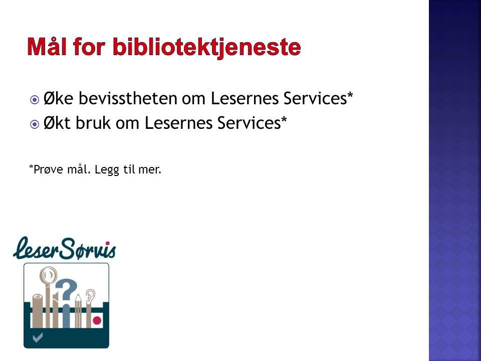  Øke bevisstheten om Lesernes Services*  Økt bruk om Lesernes Services* *Prøve mål. Legg til mer.