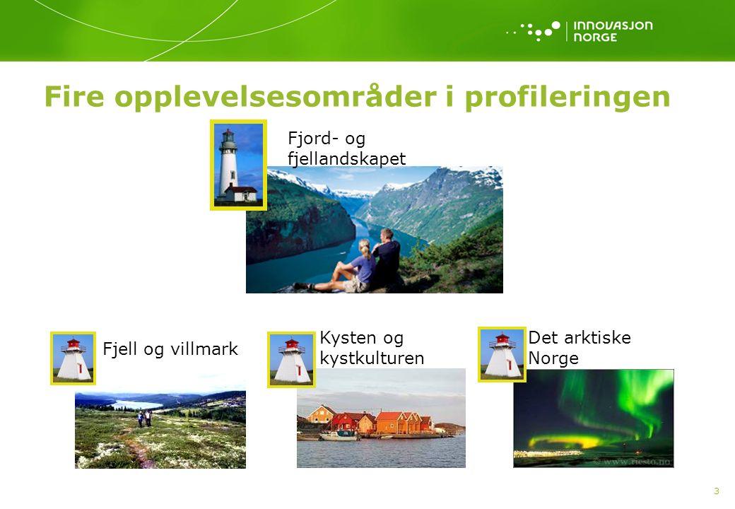 3 Fire opplevelsesområder i profileringen Fjord- og fjellandskapet Fjell og villmark Kysten og kystkulturen Det arktiske Norge