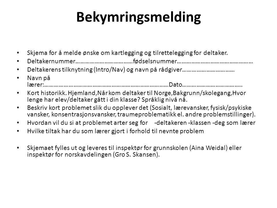 Bekymringsmelding Skjema for å melde ønske om kartlegging og tilrettelegging for deltaker.