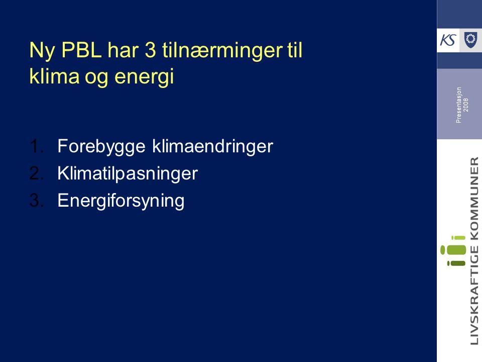 Presentasjon 2008 Ny PBL har 3 tilnærminger til klima og energi  Forebygge klimaendringer  Klimatilpasninger  Energiforsyning