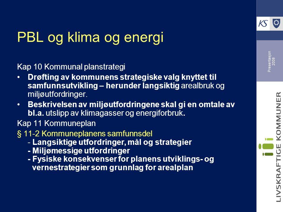 Presentasjon 2008 PBL og klima og energi Kap 10 Kommunal planstrategi Drøfting av kommunens strategiske valg knyttet til samfunnsutvikling – herunder langsiktig arealbruk og miljøutfordringer.