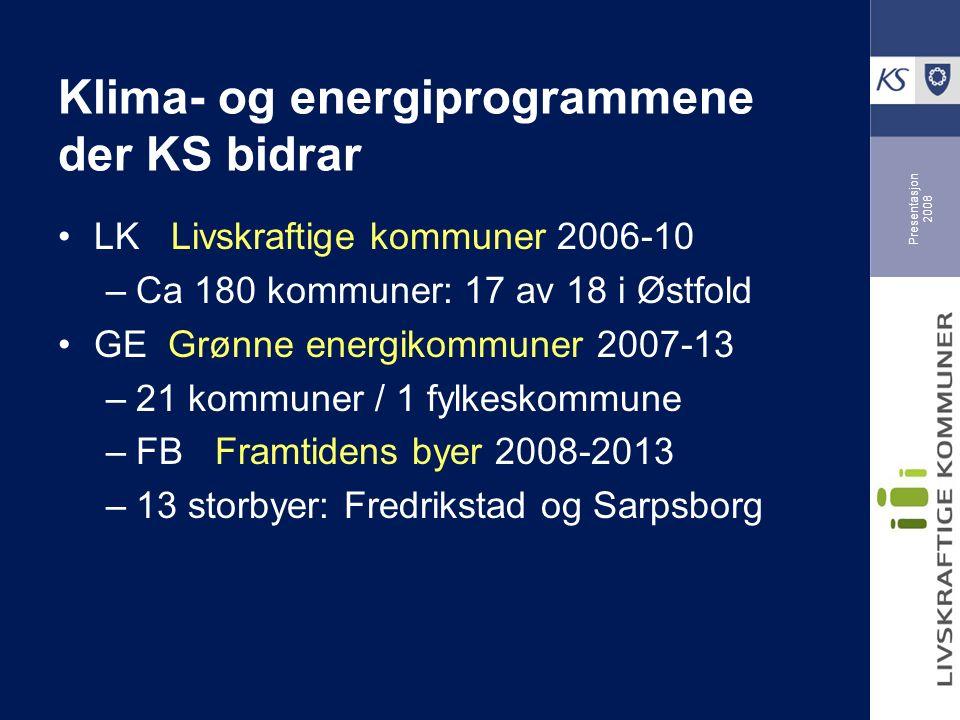 Presentasjon 2008 Klima- og energiprogrammene der KS bidrar LK Livskraftige kommuner 2006-10 –Ca 180 kommuner: 17 av 18 i Østfold GE Grønne energikommuner 2007-13 –21 kommuner / 1 fylkeskommune –FB Framtidens byer 2008-2013 –13 storbyer: Fredrikstad og Sarpsborg
