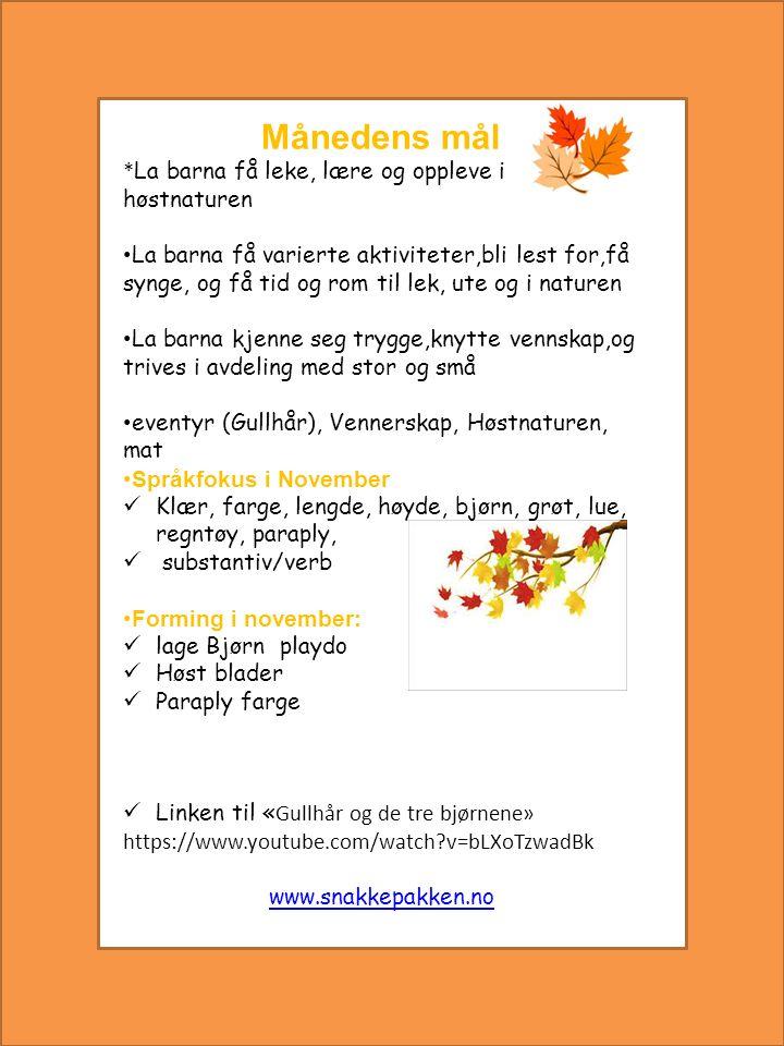 Sanger, rim og regler i November  November sanger  Se, her er et eple  Pekesang  Bjørnen søver  Hokus og pokus Busrdag i November 08.