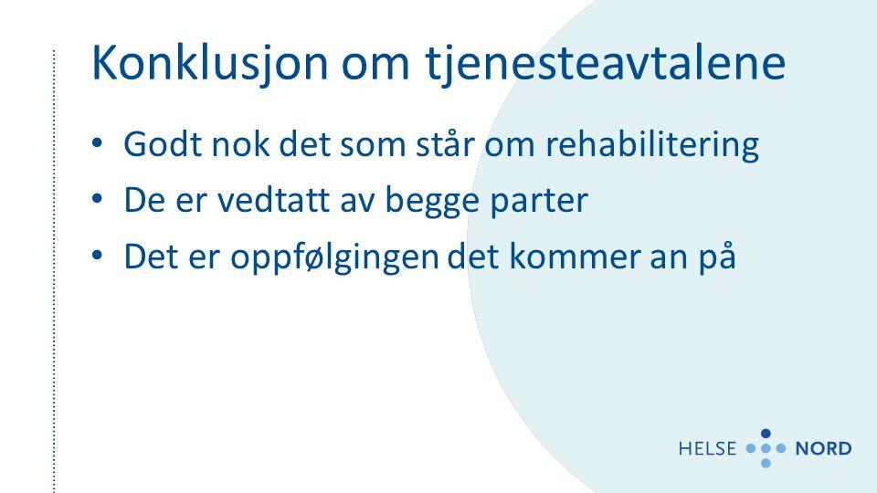 Konklusjon om tjenesteavtalene Godt nok det som står om rehabilitering De er vedtatt av begge parter Det er oppfølgingen det kommer an på