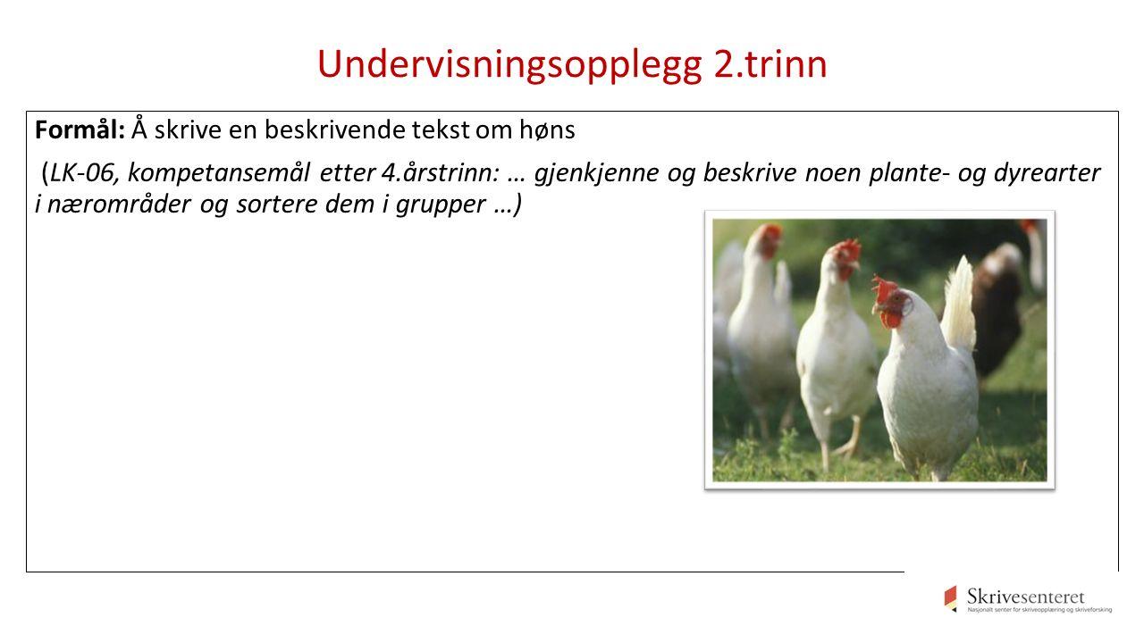 Undervisningsopplegg 2.trinn Formål: Å skrive en beskrivende tekst om høns (LK-06, kompetansemål etter 4.årstrinn: … gjenkjenne og beskrive noen plante- og dyrearter i nærområder og sortere dem i grupper …)