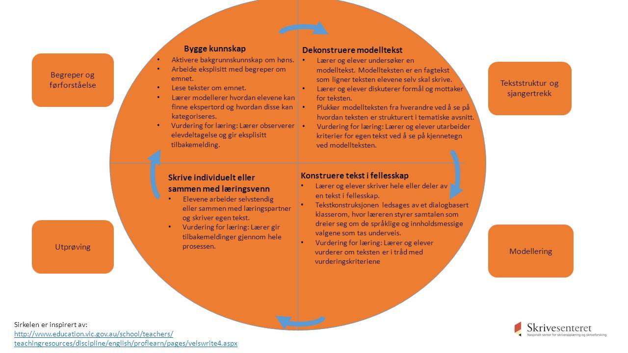 Begreper og førforståelse Utprøving Modellering Tekststruktur og sjangertrekk Bygge kunnskap Aktivere bakgrunnskunnskap om høns.
