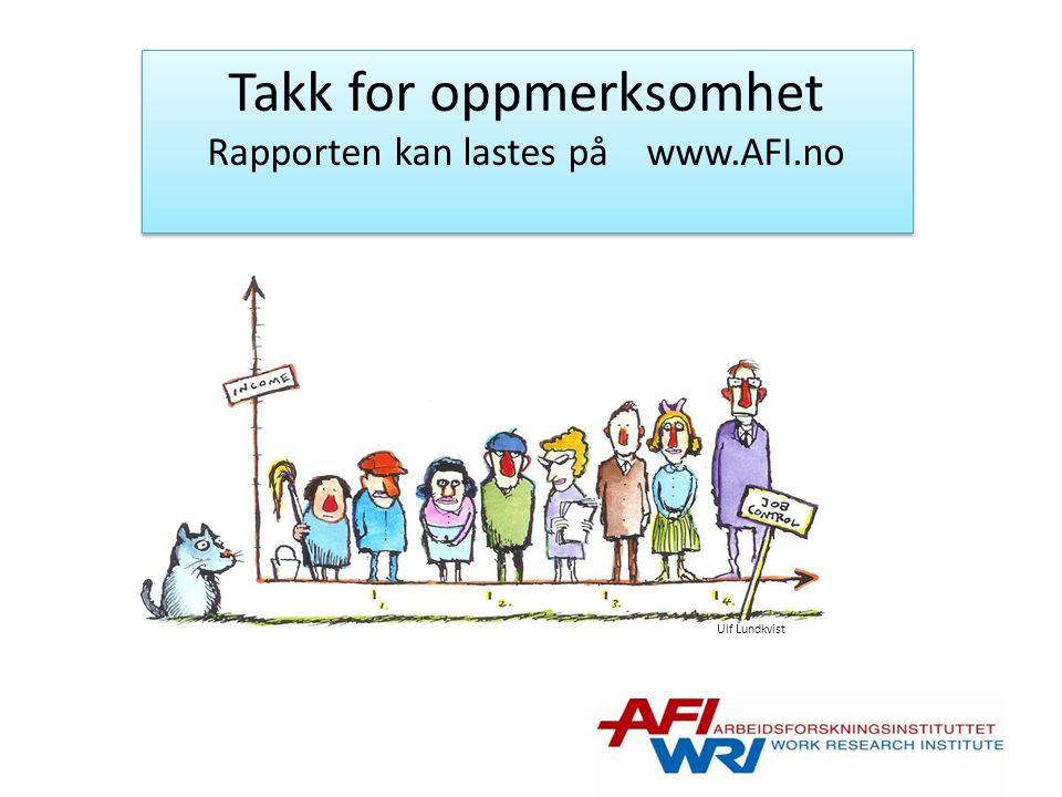Ulf Lundkvist Takk for oppmerksomhet Rapporten kan lastes på www.AFI.no Takk for oppmerksomhet Rapporten kan lastes på www.AFI.no