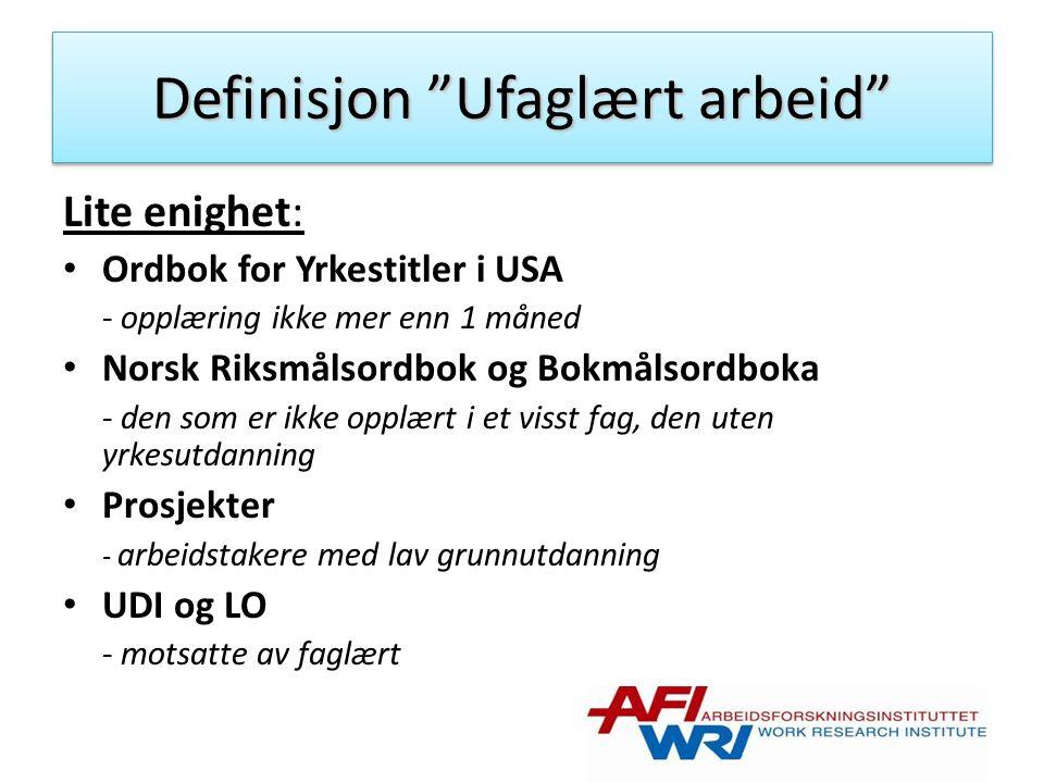 Definisjon Ufaglært arbeid Lite enighet: Ordbok for Yrkestitler i USA - opplæring ikke mer enn 1 måned Norsk Riksmålsordbok og Bokmålsordboka - den som er ikke opplært i et visst fag, den uten yrkesutdanning Prosjekter - arbeidstakere med lav grunnutdanning UDI og LO - motsatte av faglært