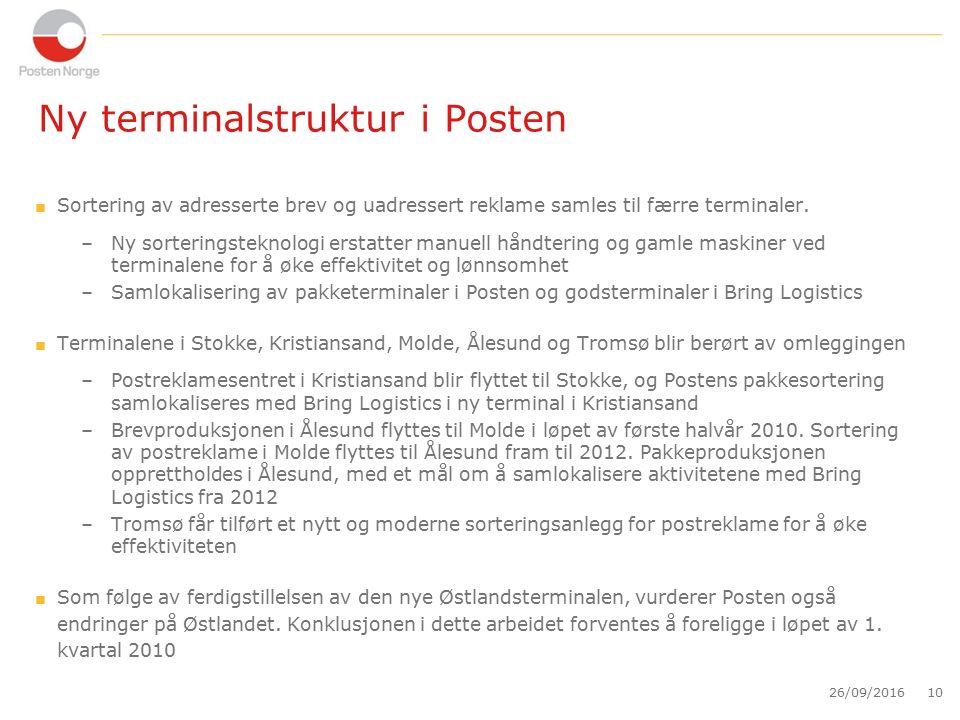 Ny terminalstruktur i Posten  Sortering av adresserte brev og uadressert reklame samles til færre terminaler.