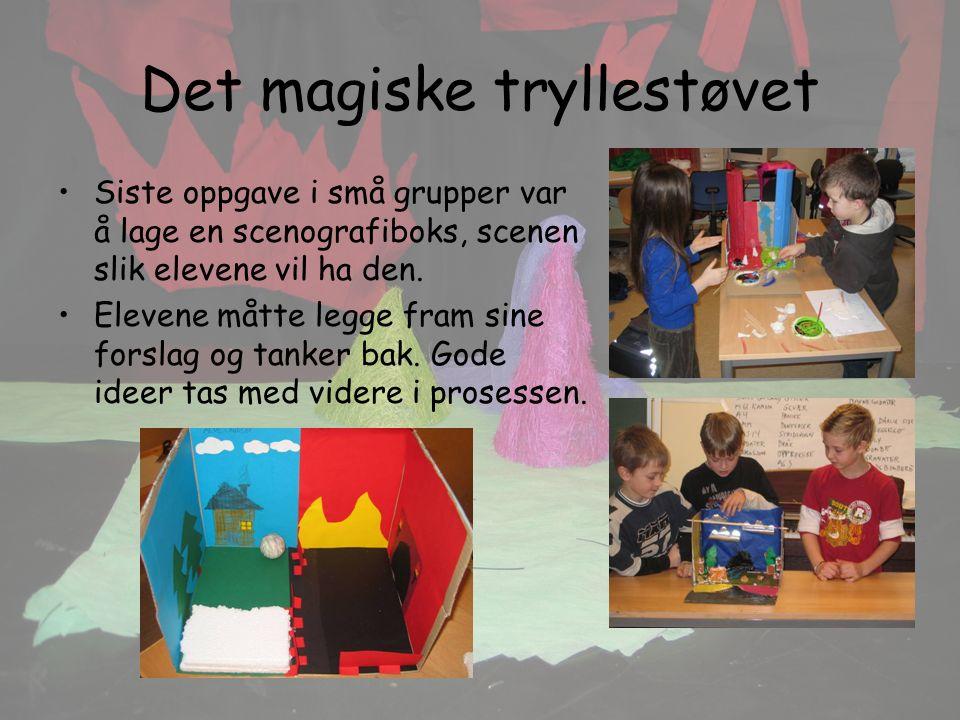 Det magiske tryllestøvet Siste oppgave i små grupper var å lage en scenografiboks, scenen slik elevene vil ha den.