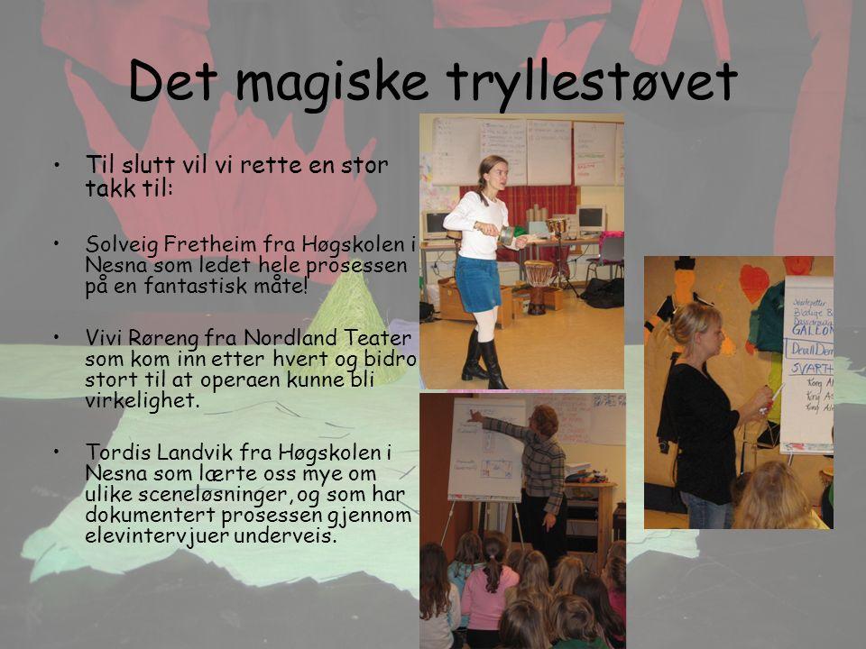 Det magiske tryllestøvet Til slutt vil vi rette en stor takk til: Solveig Fretheim fra Høgskolen i Nesna som ledet hele prosessen på en fantastisk måte.
