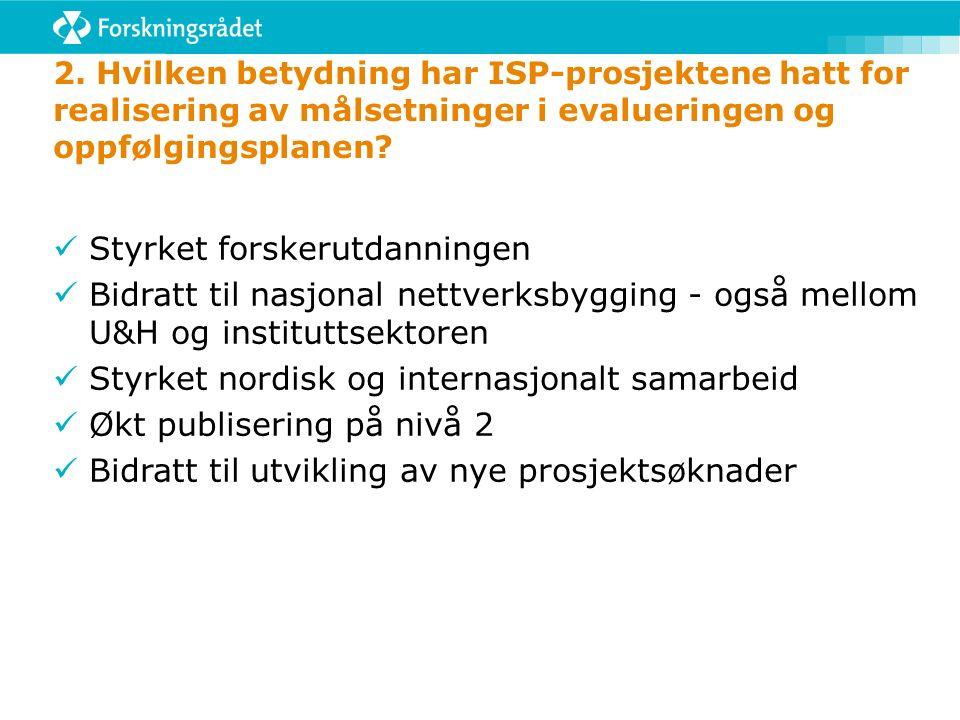 2. Hvilken betydning har ISP-prosjektene hatt for realisering av målsetninger i evalueringen og oppfølgingsplanen? Styrket forskerutdanningen Bidratt