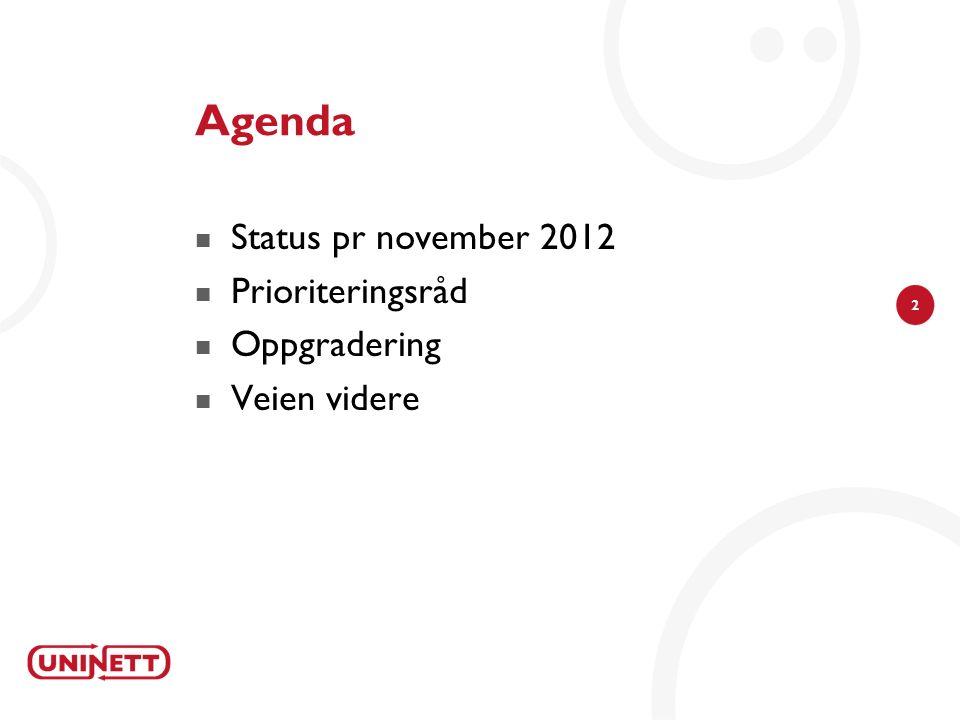 2 Agenda Status pr november 2012 Prioriteringsråd Oppgradering Veien videre