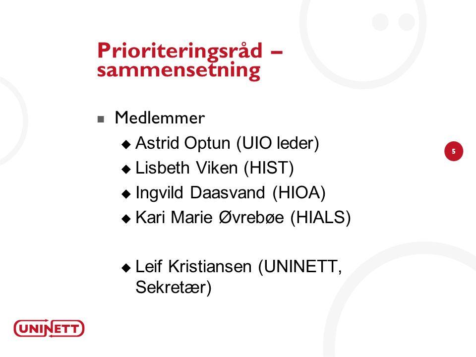 5 Prioriteringsråd – sammensetning Medlemmer  Astrid Optun (UIO leder)  Lisbeth Viken (HIST)  Ingvild Daasvand (HIOA)  Kari Marie Øvrebøe (HIALS)  Leif Kristiansen (UNINETT, Sekretær)