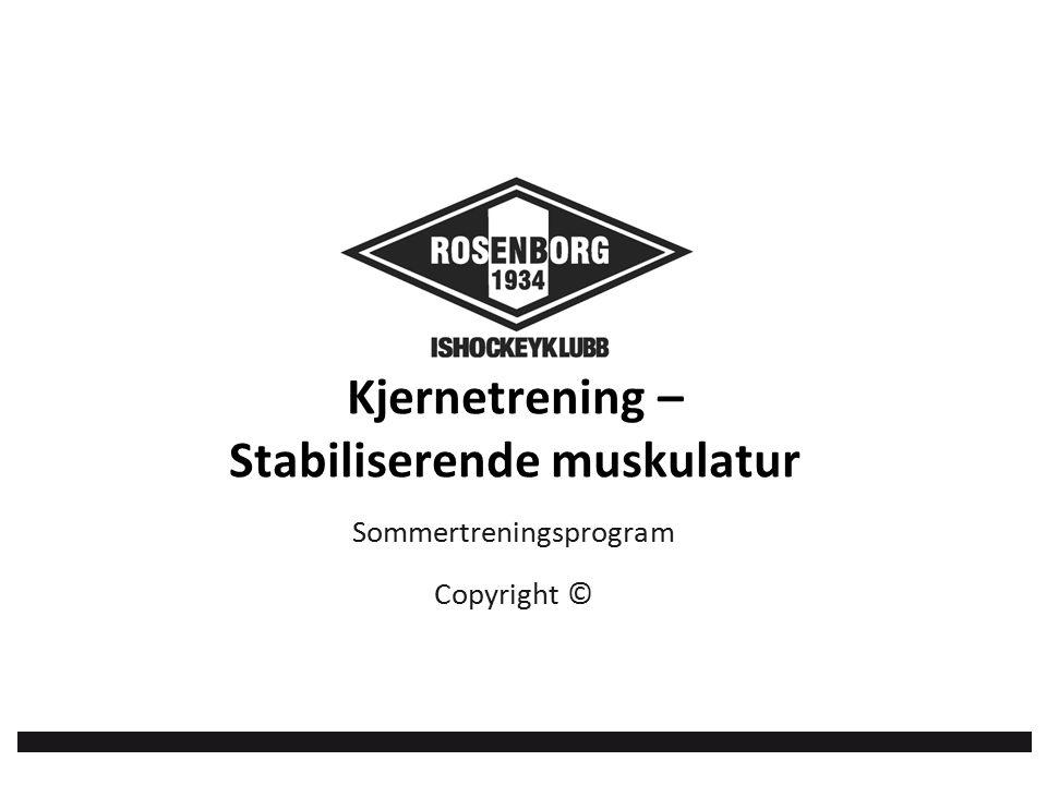 Kjernetrening – Stabiliserende muskulatur Sommertreningsprogram Copyright ©