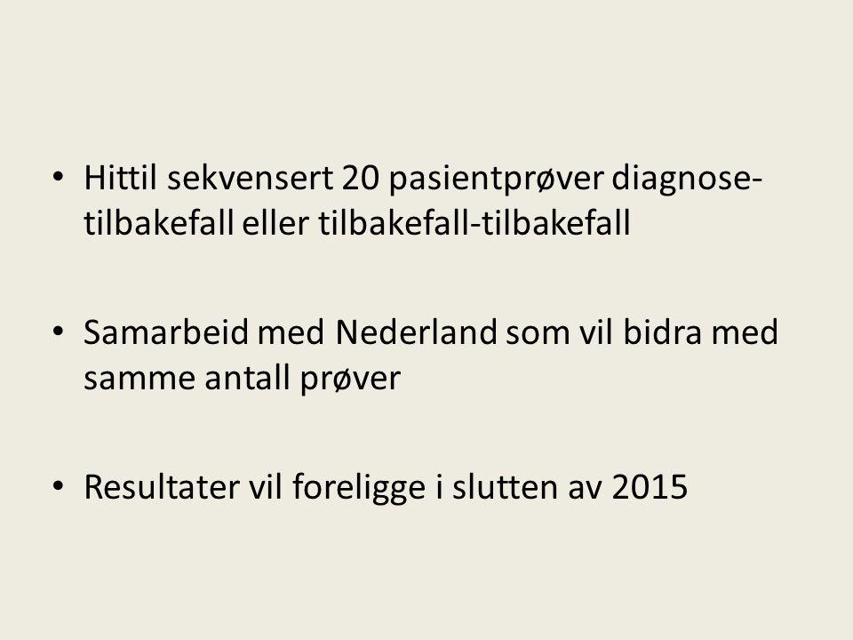 Hittil sekvensert 20 pasientprøver diagnose- tilbakefall eller tilbakefall-tilbakefall Samarbeid med Nederland som vil bidra med samme antall prøver Resultater vil foreligge i slutten av 2015