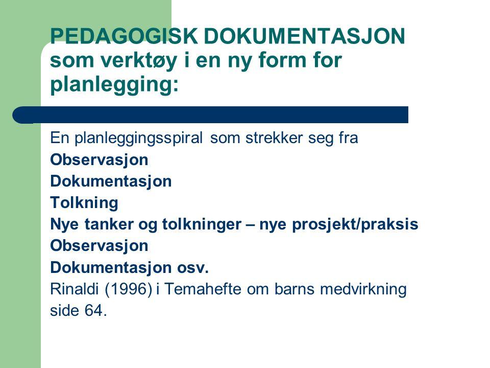 PEDAGOGISK DOKUMENTASJON som verktøy i en ny form for planlegging: En planleggingsspiral som strekker seg fra Observasjon Dokumentasjon Tolkning Nye t