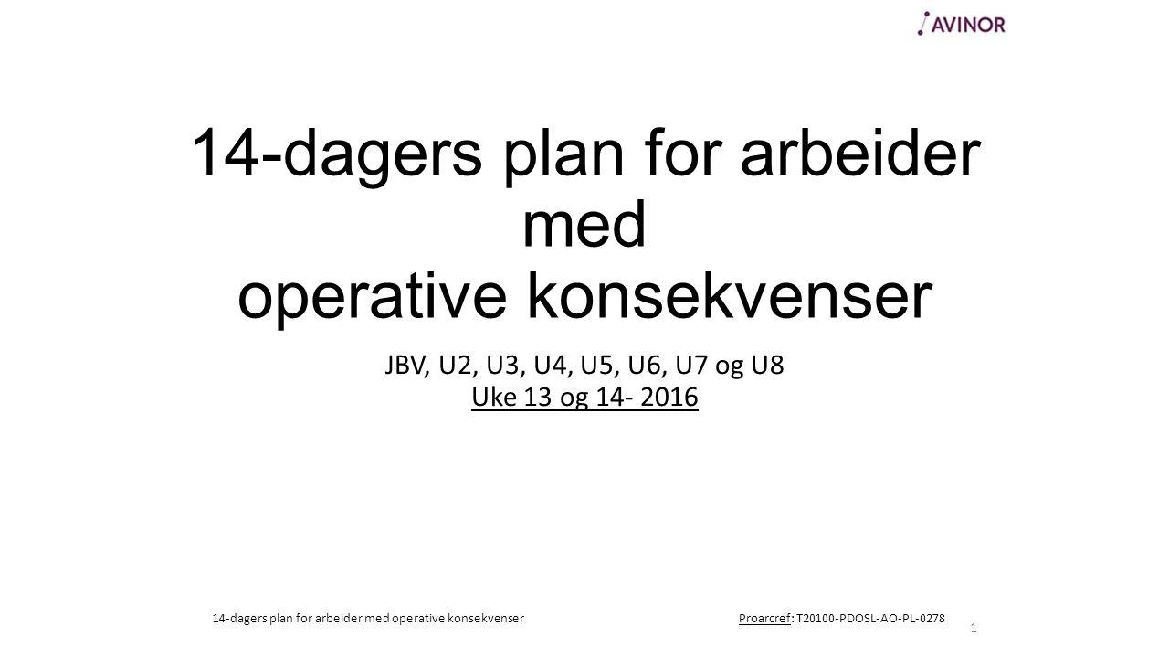 14-dagers plan for arbeider med operative konsekvenser JBV, U2, U3, U4, U5, U6, U7 og U8 Uke 13 og 14- 2016 1 14-dagers plan for arbeider med operative konsekvenserProarcref: T20100-PDOSL-AO-PL-0278